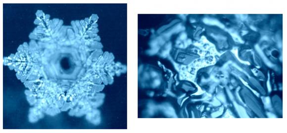 A sinistra: cristallo d'acqua prelevato in condizioni di cielo pulito; A destra: stessa fonte, prelevato con cielo chimico