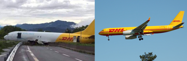 Livrea dell'aereo incidentato VS livrea originale DHL