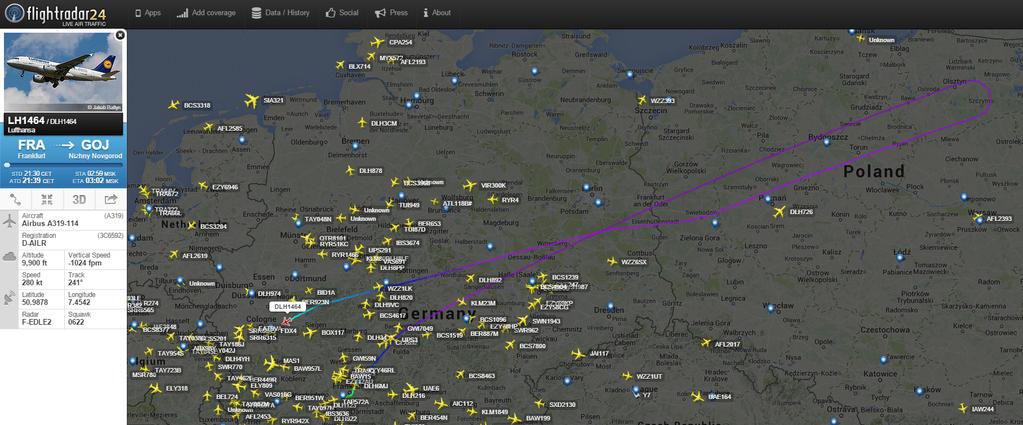 La rotta del volo su FlightRadar24