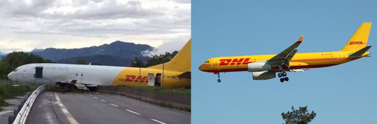 Livrea dell'aereo incidentato VS livrea originale DHL
